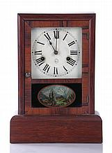 A Seth Thomas Rosewood 30-hour Mantle Clock with Reverse Printed Decoration, 19th Century.