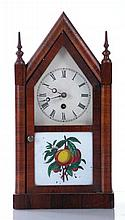 A Jerome and Company Reverse Painted Rosewood Steeple Clock, 19th Century.