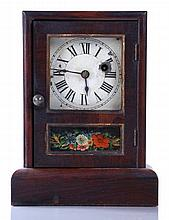 A Seth Thomas Rosewood Mantle Clock with Reverse Printed Decoration, 19th/20th Century.