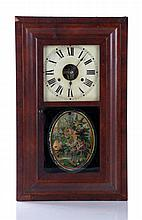 A Seth Thomas Rosewood Ogee Clock with Reverse Printed Decoration, 20th Century.