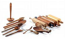 A Miscellaneous Collection of American Carved and Turned Wooden Cooking Utensils, 20th Century,