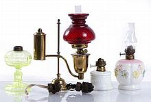 A Miscellaneous Collection of Four Colored and Pressed Glass Miniature Oil Lamps, 19th Century.