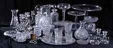 A Large Miscellaneous Collection of Clear Pressed and Cut Glass Serving and Decorative Items, 19th/20th Century.