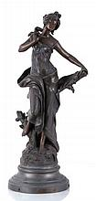 After Auguste Moreau (1834-1917) La Pensee, Patinated spelter.