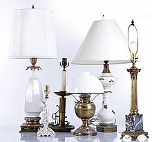 A Miscellaneous Collection of Six Glass, Brass, and Porcelain Table Lamps, 20th Century.