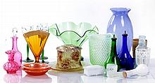 A Miscellaneous Collection of Colored Pressed Glass Serving and Decorative Items, 19th/20th Century.