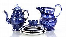 A Miscellaneous Collection of Staffordshire Blue Transfer Printed Historical Plates, Pitcher, and High-Dome Coffee Pot, 19th Century...