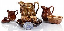 A Miscellaneous Collection of Spongeware and Brown Glaze Earthenware Serving and Decorative Items, 19th Century.