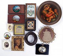 A Miscellaneous Collection of Miniature Framed Decorative Items, 19th/20th Century.