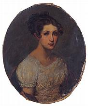 American School (19th Century) Portrait of a Lady, Oil on canvas.