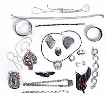 A Miscellaneous Collection of Sterling Silver and Silver Jewelry, 19th/20th Century.