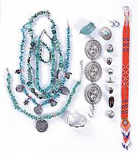 A Miscellaneous Collection of Navajo Sterling Silver, Turquoise, and Beaded Jewelry, 20th Century.