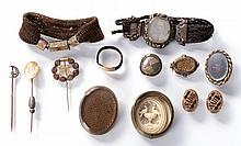 A Miscellaneous Collection of Victorian Gold Filled Memorial Jewelry, 19th Century.