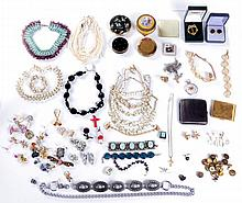A Miscellaneous Collection of Gold Plated, Silver, Silver Plated and Sterling Silver Costume Jewelry, 20th Century,