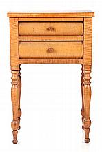 An American Tiger Maple Two Drawer Side Table, 19th Century.