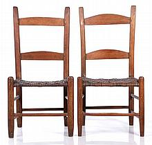 A Pair of American Oak Side Chairs with Caned Seats, 19th Century.