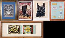 A Miscellaneous Collection of Advertising Lithographs and Mourning Silhouette, 20th Century.