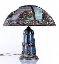 An American Slag Glass and Patinated Metal Table Lamp, 19th/20th Century.