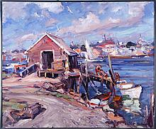 Emile Albert Gruppe (1896-1978) The Lobster Dock, Oil on canvas,