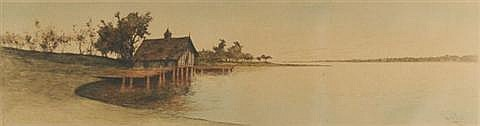 Henry Mortikar Rosenberg (American, 1858-1947) BoatSlip on Lake, Watercolor and etching,