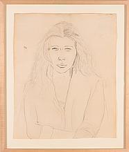 Ellsworth Kelly (American, b. 1923) Portrait of the Artist's Wife, Claudine Hermann Meschers, 1953, Pencil on paper,
