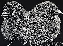 Emily Sullivan-Smith (b. 1980) Two Birds with One Stone, 2015, Relief print.