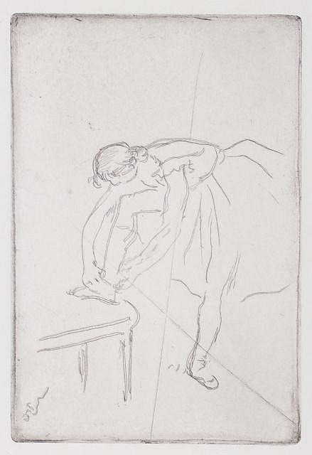 Edgar Degas (1834-1917) Ballerina Tying Her Shoe, Etching.
