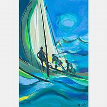 Marcel Mouly  (1918-2008) Trois Yachtmen Grosse Mer, Gentilly, 2004, Oil on canvas,