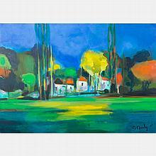 Marcel Mouly  (1918-2008) La Vieux Chateau dans less Arbes, Gentilly, 2005, Oil on canvas,