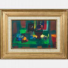 Marcel Mouly  (1918-2008) La Table Verte, Oil on canvas,