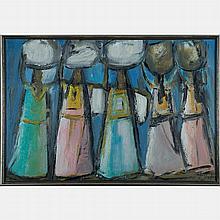 Jaime Oates (Taxco Mexico, 20th Century) Five Women, Oil on canvas,