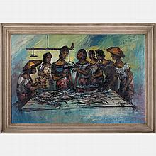 Franco Azzinari (b. 1949) Fish Market, Oil on canvas,