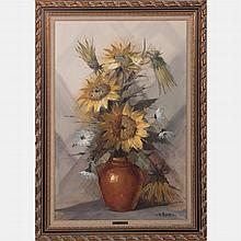 V. Majorana (20th Century) Sunflowers, Oil on canvas,