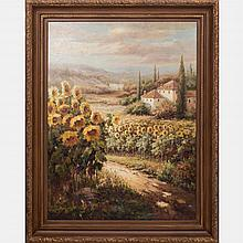 Rommitts (20th Century) Tuscany Landscape, Oil on canvas,