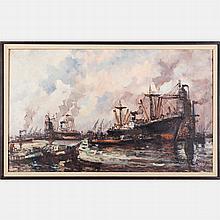 Wim Bos (b. 1941) Industrial Harbor Scene, Oil on canvas,