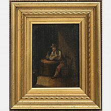 Artist Unknown (Continental School, 19th Century) Tavern Scene, Oil on board,
