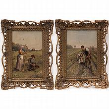 Francis William Topham (1808-1877) Two Farm Scenes with Figures, Oil on canvas,