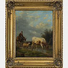 Artist Unknown (Continental School, 19th Century) Pastoral Scene, Oil on board,