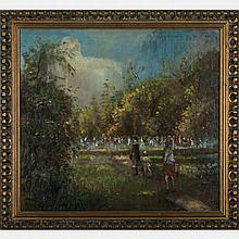 Arpad Balint (b. 1870) Park Scene with Figures, Oil on canvas,