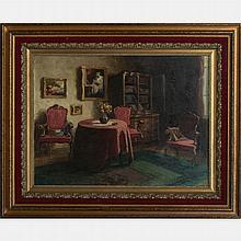 Gyula Gyertyanyi Nemeth (1892-1946) Interior Scene, Oil on canvas,