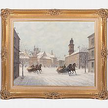 Stanislav Chimienski (b. 1936) Warsaw in Winter, Oil on canvas,