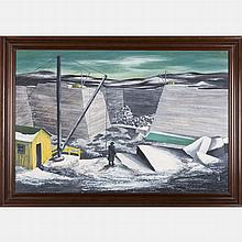 Kenneth Anderson Wood (Cleveland OH, 1913-2008) Industrial Landscape, Watercolor gouache on board,