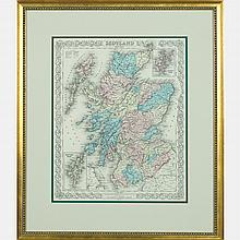 A Colored Engraved Map of Scotland by J.H. Colton, c. 1855,