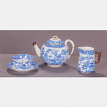 A Royal Worcester Three Piece Porcelain Service in the Blue Willow Pattern, 20th Century.