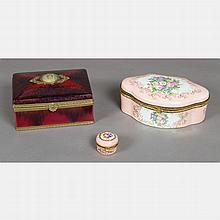 A Group of Three French Porcelain Boxes by Sevres and Limoges, 20th Century.