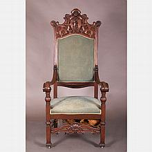 A Continental Carved Walnut Armchair, 19th Century.