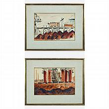 Marion Bryson (20th Century) Northern Ohio Steel Mills, Two watercolors,