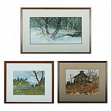 Barys Buzki (20th Century) Three Works, Watercolors,
