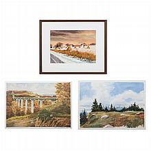 Florian K. Lawton (1921-2011) Three Landscapes, Two watercolors on paper and one lithograph,