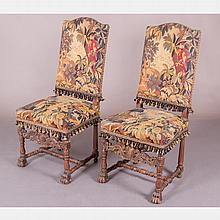A Pair of Charles II Style Carved Walnut Side Chairs